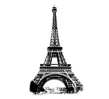 Eiffel Tower Digital Engraving Photographic Print