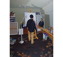 Self Portrait (Mass Effect Hoodie), 2014, Oil on Linen, 121 x 91.5cm. Photographic Print