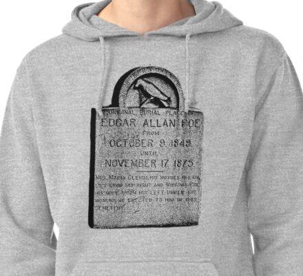 Edgar Allan Poe Tombstone. Creepy Halloween Digital Engraving Image Pullover Hoodie