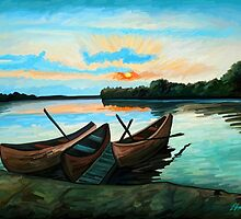 Boats at Sunset by Remus Brailoiu