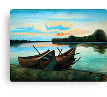 Boats at Sunset Canvas Print