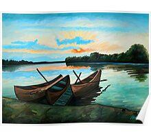 Boats at Sunset Poster