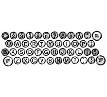 Vintage and Antique Typewriter Keys Photographic Print