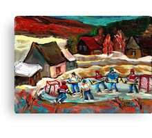 CANADIAN LANDSCAPE ART POND HOCKEY SCENES WINTER COUNTRY LIFE CAROLE SPANDAU Canvas Print