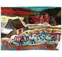 CANADIAN LANDSCAPE ART POND HOCKEY SCENES WINTER COUNTRY LIFE CAROLE SPANDAU Poster