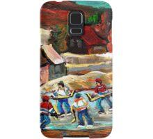 CANADIAN LANDSCAPE ART POND HOCKEY SCENES WINTER COUNTRY LIFE CAROLE SPANDAU Samsung Galaxy Case/Skin