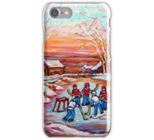 ARTISTS OF CANADA PAINT CANADIAN POND HOCKEY SCENES CAROLE SPANDAU iPhone Case/Skin