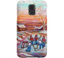 ARTISTS OF CANADA PAINT CANADIAN POND HOCKEY SCENES CAROLE SPANDAU Samsung Galaxy Case/Skin