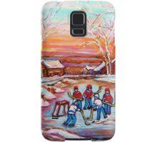 ARTISTS OF CANADA PAINT CANADIAN POND HOCKEY SCENES CAROLE SPANDAU Samsung Galaxy Case/Skin