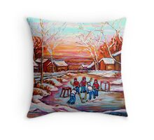 ARTISTS OF CANADA PAINT CANADIAN POND HOCKEY SCENES CAROLE SPANDAU Throw Pillow