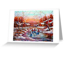 ARTISTS OF CANADA PAINT CANADIAN POND HOCKEY SCENES CAROLE SPANDAU Greeting Card