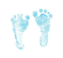 Blue Baby Footprints. Adorable Baby Feet Perfect For New Baby Boy Photographic Print
