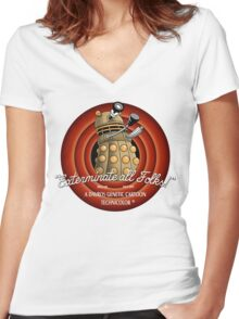 Exterminate All Folks! Women's Fitted V-Neck T-Shirt