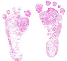 Pink Baby Footprints. Adorable Baby Feet Perfect For New Baby Girl by digitaleclectic
