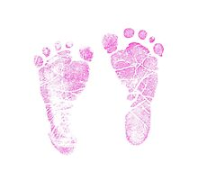 Pink Baby Footprints. Adorable Baby Feet Perfect For New Baby Girl Photographic Print