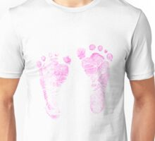 Pink Baby Footprints. Adorable Baby Feet Perfect For New Baby Girl Unisex T-Shirt