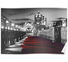 Tower Bridge and the Ceramic Poppies BW Poster