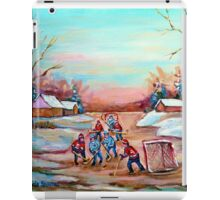 PAINTINGS OF CANADA DEPICTING COUNTRYSIDE POND HOCKEY ART PAINTINGS CAROLE SPANDAU iPad Case/Skin