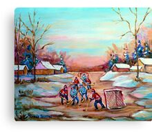 PAINTINGS OF CANADA DEPICTING COUNTRYSIDE POND HOCKEY ART PAINTINGS CAROLE SPANDAU Canvas Print