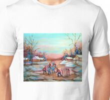 PAINTINGS OF CANADA DEPICTING COUNTRYSIDE POND HOCKEY ART PAINTINGS CAROLE SPANDAU Unisex T-Shirt
