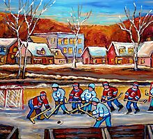 CANADIAN SCENERY POND HOCKEY ART PAINTINGS OF CANADA CAROLE SPANDAU by Carole  Spandau