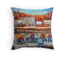 CANADIAN SCENERY POND HOCKEY ART PAINTINGS OF CANADA CAROLE SPANDAU Throw Pillow