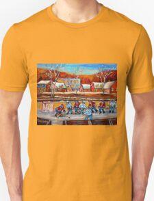 CANADIAN SCENERY POND HOCKEY ART PAINTINGS OF CANADA CAROLE SPANDAU Unisex T-Shirt