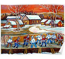 FAMOUS CANADIAN PAINTINGS FOR SALE PONDD HOCKEY IN THE COUNTRY CAROLE SPANDAU Poster
