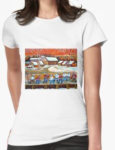 FAMOUS CANADIAN PAINTINGS FOR SALE PONDD HOCKEY IN THE COUNTRY CAROLE SPANDAU Womens Fitted T-Shirt