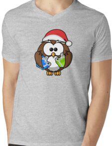 Christmas Owl Mens V-Neck T-Shirt