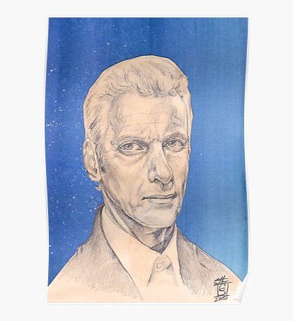 Doctor Who Fan Art Sketch - Peter Capaldi Sketch Portrait Drawing Poster