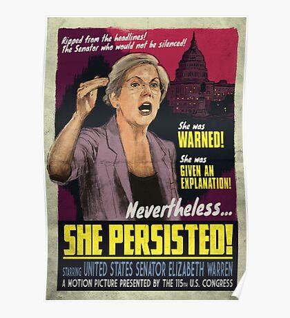 She Persisted - Elizabeth Warren Vintage Movie Poster Poster
