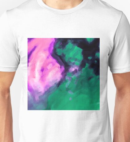 pink and green painting texture abstract background Unisex T-Shirt