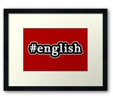 English - Hashtag - Black & White Framed Print