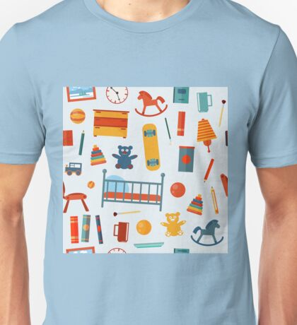 Children Bedroom Seamless Pattern with Toys Unisex T-Shirt