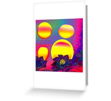 Sunset Moonlight Flower Rose Abstract Greeting Card