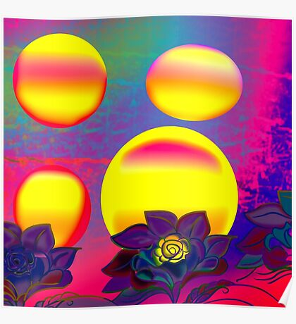 Sunset Moonlight Flower Rose Abstract Poster