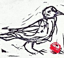 Woodblock Bird by ingrid k brooker