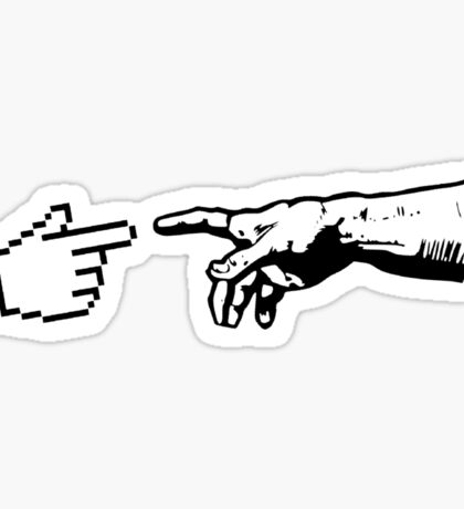 God and The Machine Hands Sticker