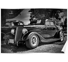 1934 Ford 3-window Coupe - B&W Poster