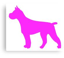 Pink Pit Bull Silhouette Canvas Print