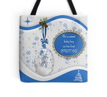For A Sweet Baby Boy On His First Christmas Pillow & Tote Tote Bag