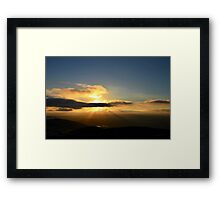 Double Peak Park Sunset with Rays Framed Print