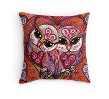 Rose Blush Spirit Owl in white by Sheridon Rayment Throw Pillow