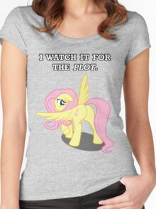 For the Plot (Fluttershy) Women's Fitted Scoop T-Shirt