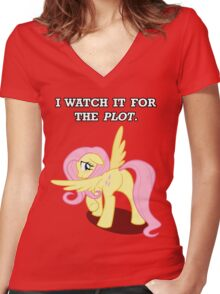 For the Plot (Fluttershy) Women's Fitted V-Neck T-Shirt