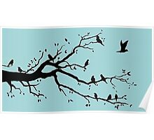 """Birds on a Branch in Blue"", acrylic/digital artwork Poster"