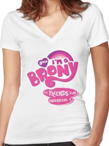 Yes I'm a Brony - My Little Pony Parody (Ver. 2) Women's Fitted V-Neck T-Shirt