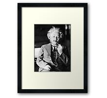 Albert Einstein with a Pipe Framed Print