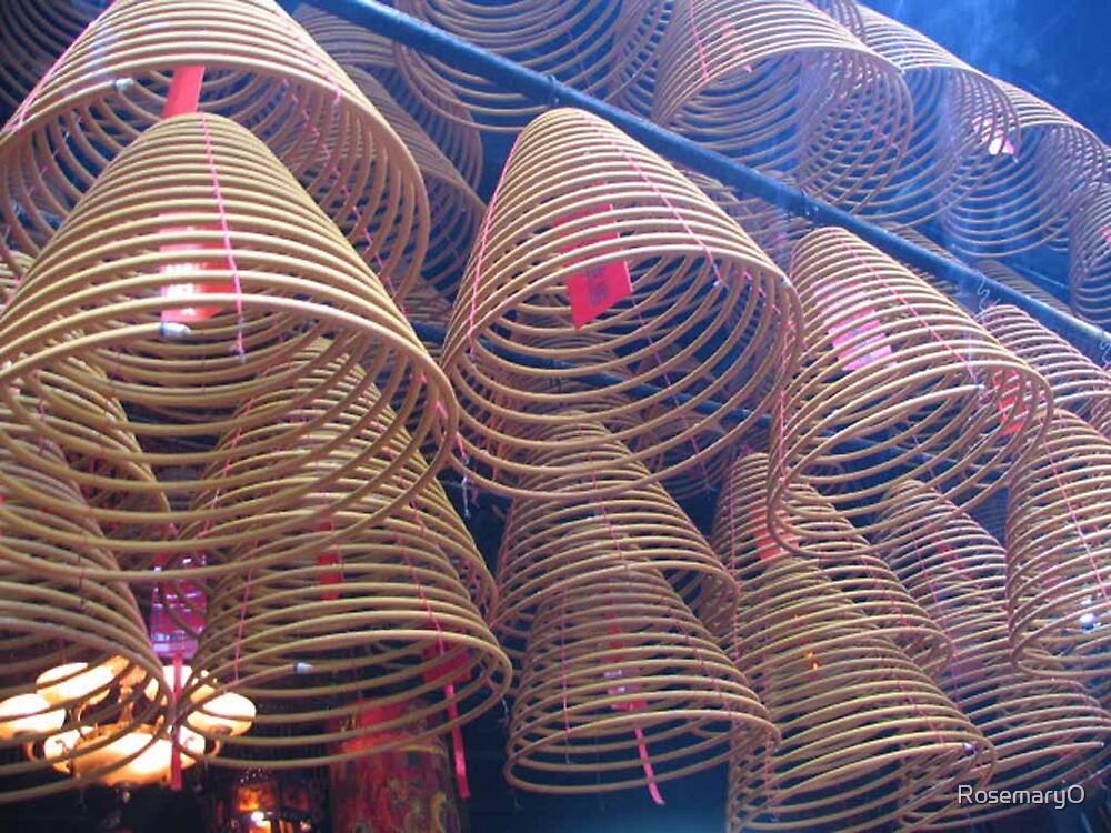 Incense coils, Sha Tin Temple, Hong Kong by RosemaryO